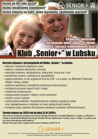 """Rekrutacja do Klubu """"Senior+"""" w Lubsku"""