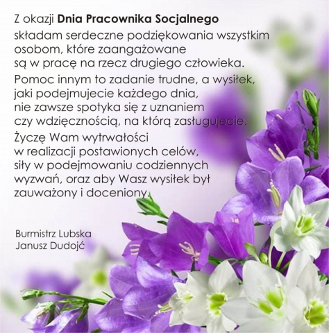 Dzień Pracownika Socjalnego - zdjęcie kwiatów z treścią życzeń od Burmistrza Lubska