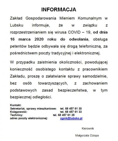 Informacja ZGMK