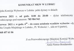 Komunikat Miejskiej Komisji Wyborczej w Lubsku