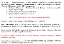 Komunikat dot. składania wniosków na nowy okres zasiłkowy